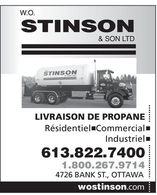 Stinson W O & Son Ltd (613-822-7400) - Display Ad
