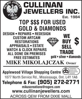 Cullinan Jewellers Inc (905-272-2771) - Display Ad