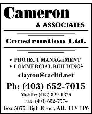 Cameron & Associates Construction Ltd (403-652-7015) - Display Ad
