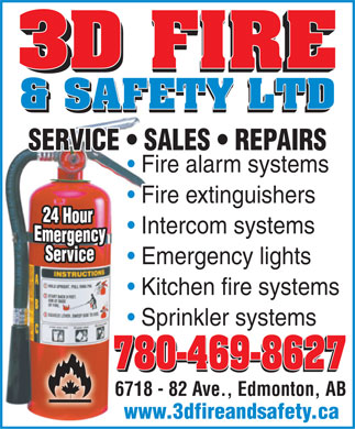 3D Fire &amp; Safety Ltd (780-469-8627) - Annonce illustr&eacute;e