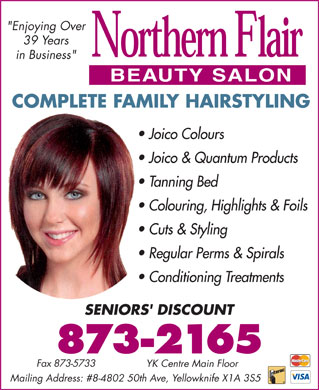 Northern Flair Beauty Salon (867-988-0898) - Annonce illustrée