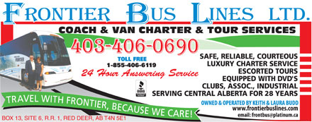 Frontier Bus Lines Ltd (403-347-4990) - Display Ad - 28 28