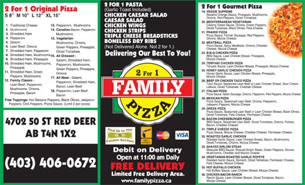 Family Pizza (403-406-0073) - Display Ad - Mushrooms 4702 50 ST RED DEER AB T4N 1X2 (403) 406-0672