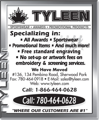 Tyleen Sportswear Awards & Promotional Products (780-443-9971) - Annonce illustrée
