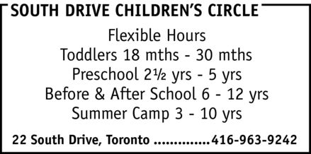 South Drive Childrens Circle (416-963-9242) - Annonce illustrée