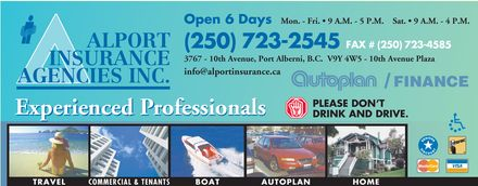 Alport Insurance Agencies Inc (250-723-2545) - Display Ad
