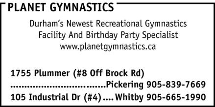 Planet Gymnastics (905-839-7669) - Display Ad