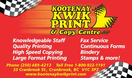 Kootenay Kwik Print (250-489-4213) - Display Ad