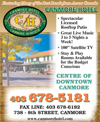 Canmore Hotel (403-678-5181) - Display Ad