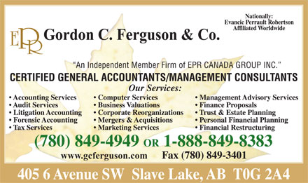 E P R Gordon C Ferguson & Company Certified General Accountants (780-849-4946) - Display Ad