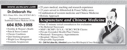 Acupuncture & Chinese Medicine Centre (604-850-1088) - Display Ad