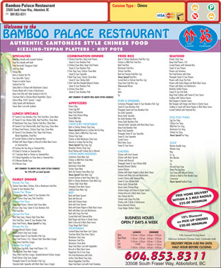 Bamboo Palace Restaurant Chinese Foods (604-557-7573) - Menu