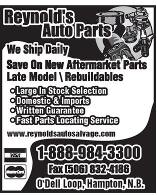 Reynold's Auto Parts (1-888-587-2683) - Annonce illustr&eacute;e - Late Late Late ModModModel    Rebuel    Rebuel    Rebuildildildableableablesss Fast PaFast Parts Lrts Locaocatingting Ser Servicvicee