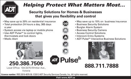 ADT Security Services Canada Inc (1-888-711-7888) - Annonce illustr&eacute;e