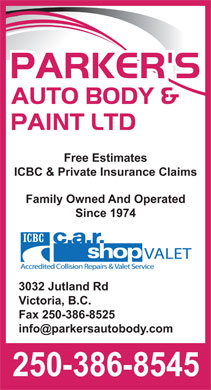 Parker's Auto Body & Paint Ltd (250-386-8545) - Display Ad