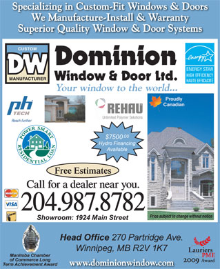 Dominion Window & Door Ltd (204-809-0369) - Annonce illustrée - Free Estimates  Free Estimates