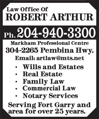 Arthur Robert Law Office (204-940-3300) - Display Ad