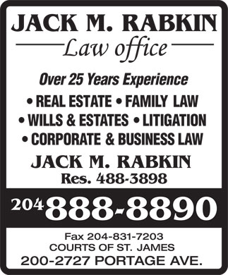 Jack M Rabkin Law Office (204-888-8890) - Display Ad