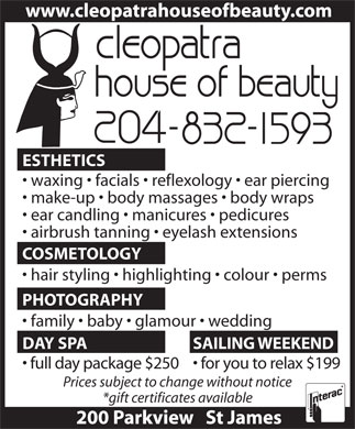 Cleopatra House Of Beauty (204-832-1593) - Annonce illustr&eacute;e