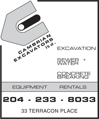 Cambrian Excavators Ltd (204-233-8033) - Annonce illustrée