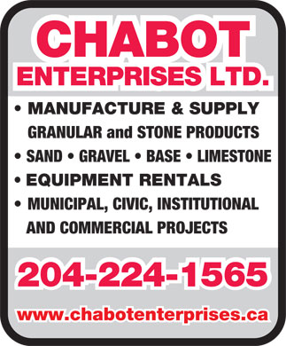 Chabot Enterprises Ltd (204-224-1565) - Annonce illustrée