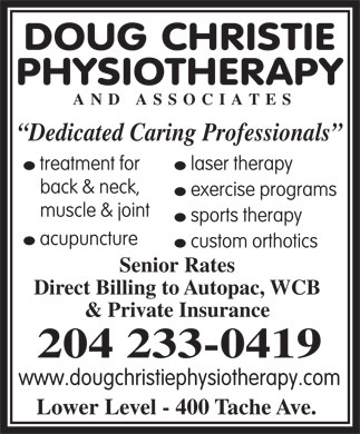 Doug Christie Physiotherapy & Associates (204-233-0419) - Annonce illustrée