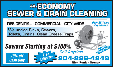 AA Economy Sewer &amp; Drain Cleaning Service (204-888-4849) - Annonce illustr&eacute;e