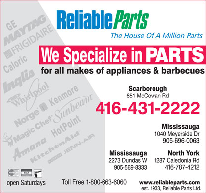 Reliable Parts Ltd (416-431-2222) - Annonce illustrée