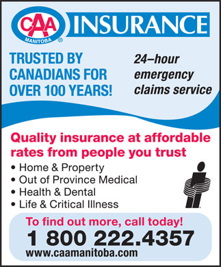 CAA Manitoba Insurance (1-800-222-4357) - Display Ad