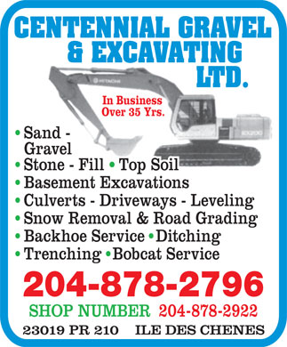 Centennial Gravel & Excavating Ltd (204-878-2796) - Annonce illustrée