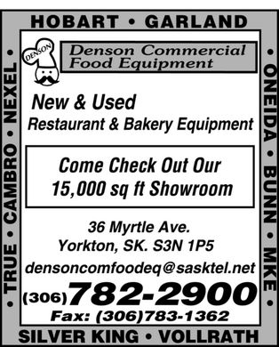 Denson Commercial Food Equipment (306-782-2900) - Display Ad