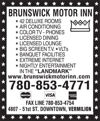 Brunswick Motor Inn (780-853-4771) - Display Ad