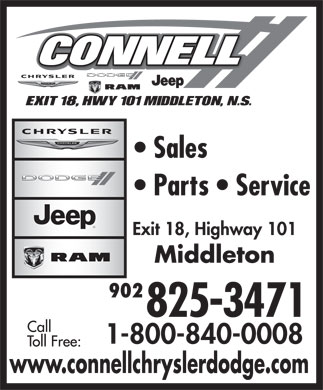 Connell Chrysler Dodge (1-877-218-5657) - Annonce illustrée - 902 www.connellchryslerdodge.com