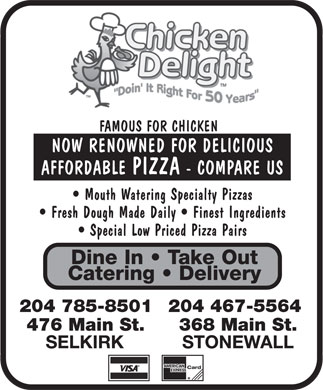 Chicken Delight (204-785-8501) - Annonce illustrée - 204 467-5564204 785-8501 368 Main St.476 Main St.