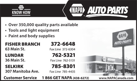 NAPA Auto Parts (204-785-8301) - Display Ad