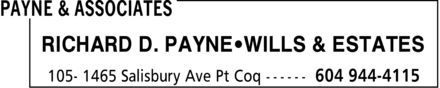 Payne & Associates (604-944-4115) - Annonce illustrée - RICHARD D. PAYNE WILLS & ESTATES