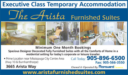 Arista Furnished Suites (289-814-4893) - Display Ad