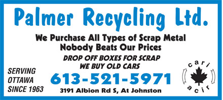 Palmer Recycling Ltd (613-521-5971) - Display Ad