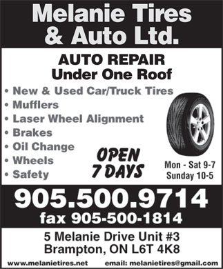 Melanie Tire & Auto Ltd (905-500-9714) - Display Ad
