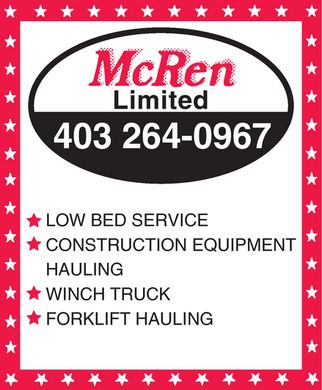 Mcren Limited (403-264-0967) - Display Ad - McRen Limited  403 264-0967  LOW BED SERVICE  CONSTRUCTION EQUIPMENT HAULING  WINCH TRUCK  FORKLIFT HAULING McRen Limited  403 264-0967  LOW BED SERVICE  CONSTRUCTION EQUIPMENT HAULING  WINCH TRUCK  FORKLIFT HAULING