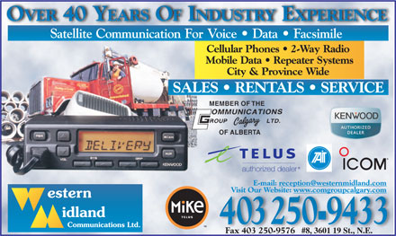 Western Midland Communications Ltd (403-250-9433) - Annonce illustrée - #8, 3601 19 St., N.E. Fax 403 250-9576