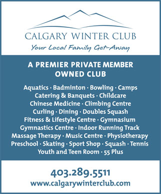 Calgary Winter Club (403-289-5511) - Annonce illustrée - Check CF for supplied art body font is TheMix