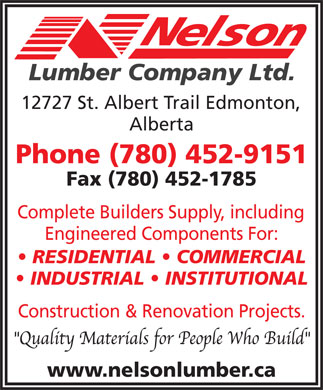 Nelson Lumber Co Ltd (780-452-9151) - Display Ad