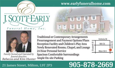 J Scott Early Funeral Home (905-878-2669) - Annonce illustrée