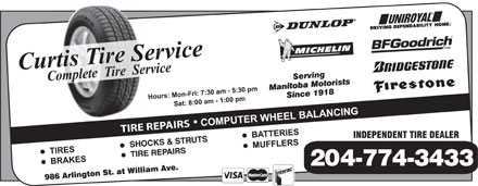 Curtis Tire Service (204-774-3433) - Annonce illustr&eacute;e - TIRE REPAIRS 204-774-3433 TIRE REPAIRS 204-774-3433