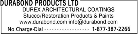 Durabond Products Ltd (416-759-4474) - Display Ad - DUREX - STUCCO RESTORATION PRODUCTS - STUCCO PAINTS