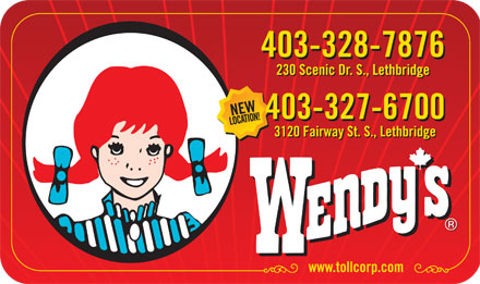Wendy's Restaurant (403-328-7876) - Display Ad