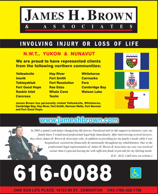 Alberta Injury Lawyers (1-800-616-0088) - Display Ad
