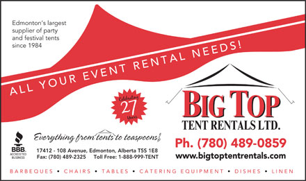Big Top Tent Rentals (780-489-0859) - Display Ad