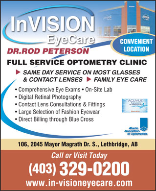 Invision Eyecare (403-329-0200) - Display Ad